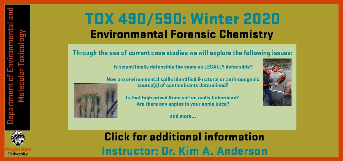 Dr. Kim A. Anderson Winter Seminar 2020 Tox 490/590