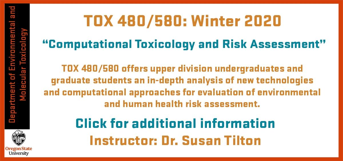 Dr. Susan Tilton Tox 480/580 Winter